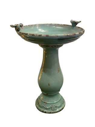 TLR102TUR Light Turquoise Antique Ceramic Bird Bath with Bird