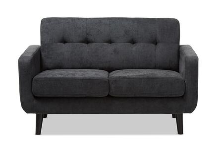 Baxton Studio Carina Mid-Century Modern Dark Grey Fabric Upholstered Loveseat/Mid-Century/Grey/Fabric Polyester 100%/Pine Wood/Foam