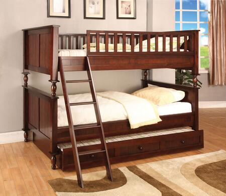 Radcliff Collection CM-BK001F-BED-TRUNDLE Twin over Full Size Bunk Bed with Trundle  Angled Ladder  10 PC Slats Top/Bottom  Solid Wood and Wood Veneers