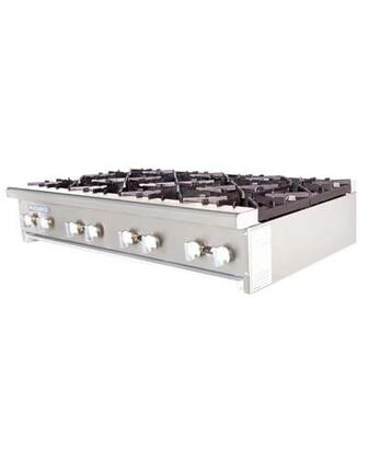 TAHP488 8 Burners High Output Counter Top Hot Plate with Specially Designed Burners  Removable Grease Pan  32000 BTU Per Burner  Bull-Nose Stainless Steel