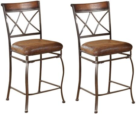 Tavio Collection 96059 24 inch  Set of 2 Counter Height Chairs with Gold Brush Fabric Cushion  Wood Insert  Curved Metal Legs and Foot Rest in Brown