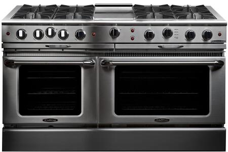 "Culinarian Series CGSR604G4-N 60"""" Freestanding Natural Gas Range with 8 Open Burners  Primary 4.6 Cu. Ft. Oven Cavity  Secondary 3.1 Cu. Ft. Oven Capacity  and"" 176072"