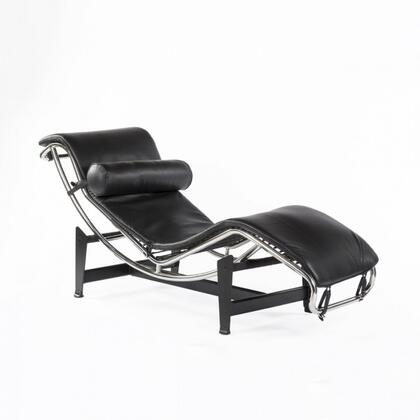 Moss FEC9003BLK51 Chaise Lounge Chair with Stainless Steel Frame  Steel Base and Leather Upholstery in