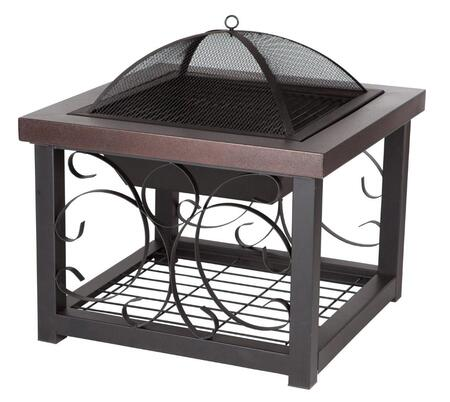 61331 Cocktail Table Fire Pit with Steel Fire Box Cover  Wood Grate and High Temperature Finish Steel Fire Screen in Durable Hammer Tone Bronze