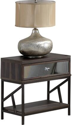 Adrianna Collection 20953 21 inch  Nightstand with 1 Mirror Inlay Drawer  Bottom Shelf  Metal Hardware and Melamine Veneer Materials in Walnut