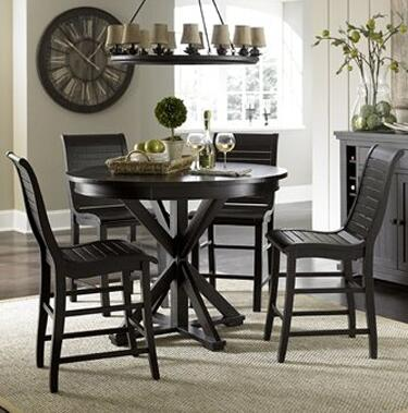 Willow Collection P812-ROUNCT4SC 5-Piece Dining Room Sets with Round Counter Height Table and 4 Counter Height Side Chairs in Distressed