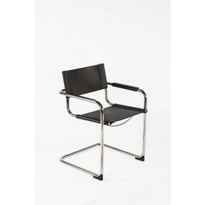 Ulkind FV220BLK Arm Chair with Stainless Steel Frame  Track Arms and Recycled Leather Upholstery in