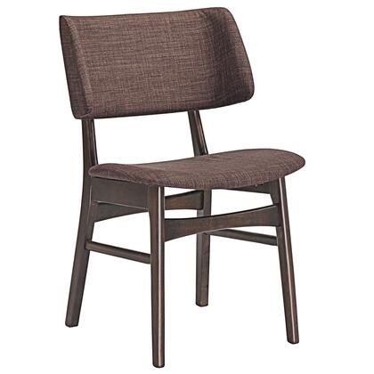 Vestige Collection EEI-1610-WAL-MOC Dining Side Chair with Wood-Grained Dark Walnut Veneer Materials  Foam Filled Cushion and Linen Upholstery in Walnut Mocha