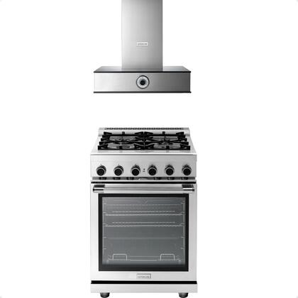 2-Piece Stainless Steel Kitchen Package with RN241GPSS 24 inch  Freestanding Natural Gas Range