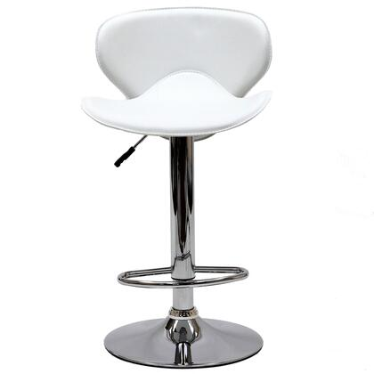 Booster Collection EEI-580-WHI Bar Stool with 360-Degree Swivel Seat  Hydraulic Adjustable Height  Footrest Ring  Chrome Plated Steel Frame and Leatherette