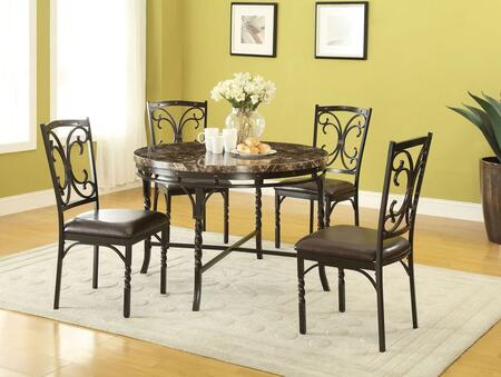 Burril Collection 70584T4C 5 PC Dining Room Set with Faux Marble Top Dining Table and 4 PU Leather Upholstered Seat Side Chairs in Dark Bronze Metal