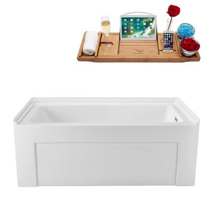 N51060ALWHRDFM 60 inch  Soaking Alcove Apron Tub with Internal Drain  Chrome Color Drain Assembly  61 Gallons Water Capacity  and Acrylic/Fiberglass Construction