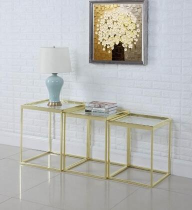 Home Accents Collection 902793 Three Piece Etagere with Stackable Tables  Clear Glass Tops and Metal Frame in Brushed Brass
