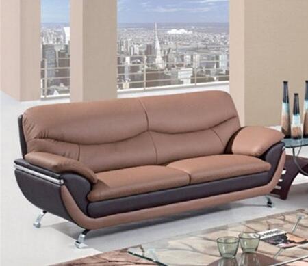 U2106-S Two-Toned Bonded Leather Sofa  Bonded Leather Upholstery  Metal Arms/Legs  in