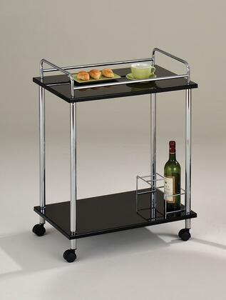Fergus Collection 98098 24 inch  Serving Cart with 5mm Black Tempered Glass Top  Casters  Wine Bottle Storage and Metal Construction in Chrome