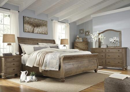 Trishley King Bedroom Set With Sleigh Bed  Dresser  Mirror  2x Nightstands And Chest In Light