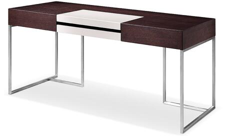 VGWCS501 Modrest Ezra Office Desk with Side Cabinet  Stainless Steel Legs  Rolling Wheels on Cabinet  MDF and Melamine Materials in Brown