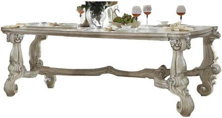 Versailles Collection 61145 96 inch  Dining Table with Scrolled Feet  Ornamental Detail  Fiberglass Material  Aspen and Poplar Wood Construction in Bone White