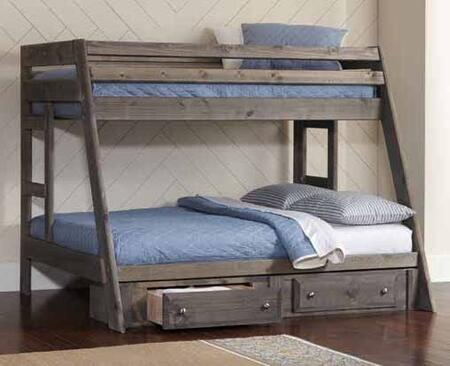 Wrangle Hill Collection 400830+400832 Twin over Full Size Bunk Bed with 2 Under Bed Storage Drawers  Full Length Guardrails  Clean Line Design and Solid Pine