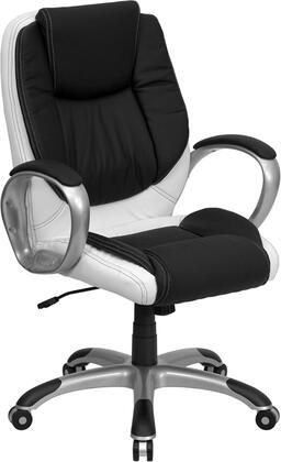 CH-CX0217M-GG Mid-Back Black and White Leather Executive Swivel Office