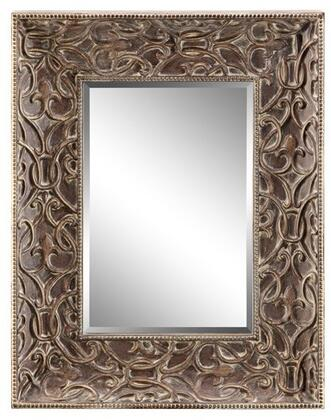 Flora Collection 13432 65 inch  Wall Mirror with Raised Scroll Pattern Design  Bead Border and Powder Glaze in