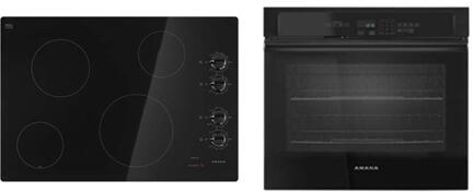 """Amana 2 Piece Kitchen Package with AEC6540KFB 30"""" Electric Cooktop and AWO6313SFB 30"""" Electric Single Wall Oven in"""
