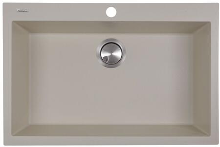 Plymouth Collection PR3020-DM-S 30 inch  Single Bowl Dual-Mount Sink with Granite Composite Material  Heat Resistant Design  Sound Absorbing and Non-Porous Surface