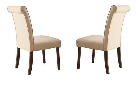 Gasha Collection 72822 Set of 2 Side Chairs with Button Tufted Rolled Backrest  Mid-Century Style  Beige Linen Upholstery and Tapered Legs in Walnut