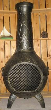 ALCH046GAGKNG Gas Powered Orchid Chiminea Outdoor Fireplace With Cast Iron Bottom Grate  Carry Handles For Easy Arrangement  Hinged Mouth Safety Screen  Spark