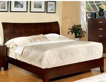 Midland Collection CM7600F-BED Full Size Bed with Curved Edge  Flared Headboard  Solid Wood and Wood Veneers Construction in Brown Cherry