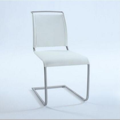 Valentina Collection VALENTINA-SC-WHT Side Chair with Brushed Stainless Steel Frame and PU Leather Upholstery in White