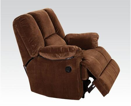 Oliver Collection 59092 41 inch  Glider Recliner with Pillow Top Arms  Loose Arm Rest  Hemlock Fir Wood Frame and Corduroy Fabric Upholstery in Chocolate