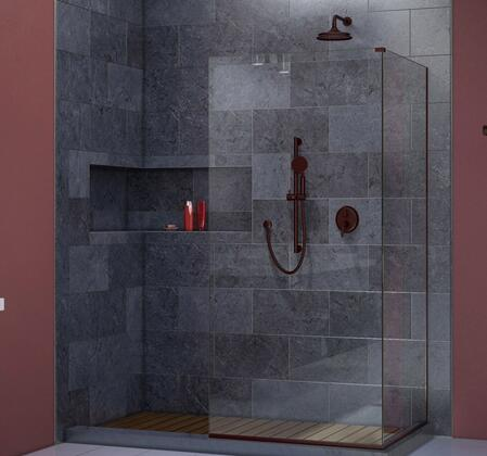SHDR-3230343-06 Linea Frameless Shower Door. Two Attached Glass Panels: 34 in. x 72 in. and 30 in. x 72 in. Oil Rubbed