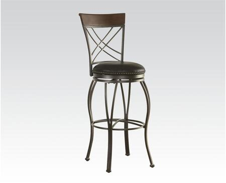 96302 Tanger Bar Chair with Swivel and Bonded Leather Upholstery in Copper and Dark