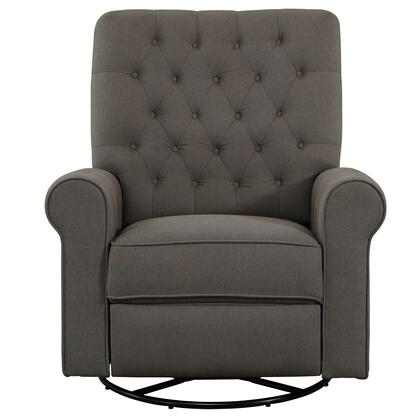 DSD104006498 Traditional Roll Arm Recliner Swivel Glider In Fresh Pewter