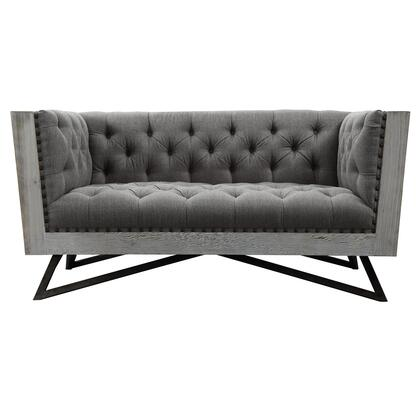Regis Collection LCRE2GR Contemporary Loveseat in Grey Fabric with Black Metal Finish Legs and Antique Brown Nailhead