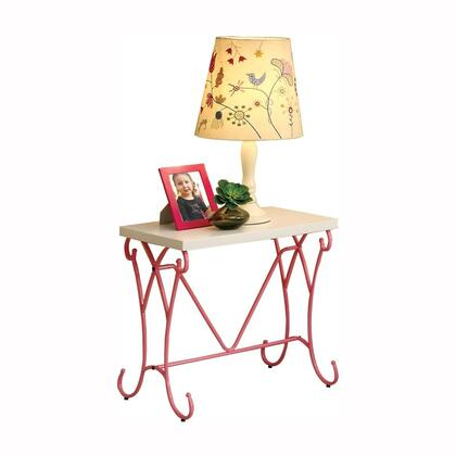 Enchant Collection CM7705N 22 Nightstand with Wood Top  Scrollwork Pattern and Metal Frame Construction in Pink and White