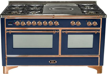"UM-150-SDMP-BL-C 60"""" Dual Fuel Range with Copper Trim  French Top  6 Semi-Sealed Burners  Multi-Function European Convection Oven  Electric Oven  Rotisserie"" 811977"