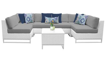 MIAMI-07d-GREY Miami 7 Piece Outdoor Wicker Patio Furniture Set 07d with 2 Covers: Sail White and