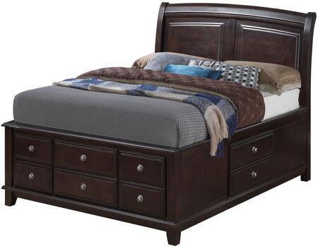 G9800B-QSB Queen Size Storage Bed with Wood Veneer  Sleigh Headboard  Tapered Legs  Dove Tail Drawers and Simple Pull Handle  in