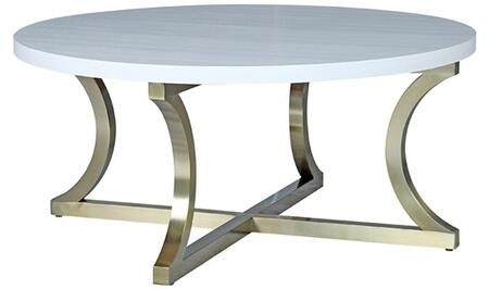 2140301RCW Iris Cocktail Table with Chalk White and Ash Top and Brushed Champagne Stainless Steel