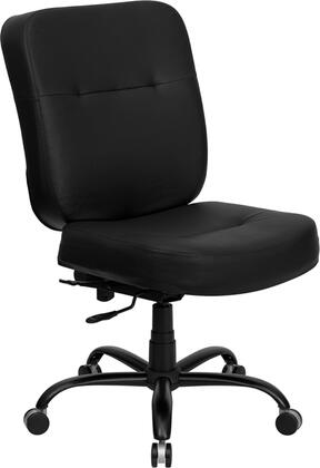 WL-735SYG-BK-LEA-GG HERCULES Series 400 lb. Capacity Big & Tall Black Leather Office Chair with Extra WIDE