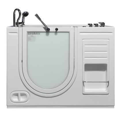 Hydrolife Series HY-1204L 51 inch  x 29.5 inch  x 40 inch H Outward Open Walk-in Tub with Heated Air Jet System and 17 inch  High  ADA Compliant  Molded Seat in Satin Finish: Left