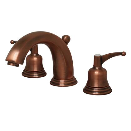 514131WSACO Blairhaus Adams widespread lavatory faucet with smooth lined arcing spout  bell-shaped lever handles  beveled escutcheons and pop-up