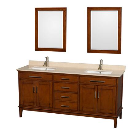 Wcv161672dclivunsm24 72 In. Double Bathroom Vanity In Light Chestnut  Ivory Marble Countertop  Undermount Square Sinks  And 24 In.
