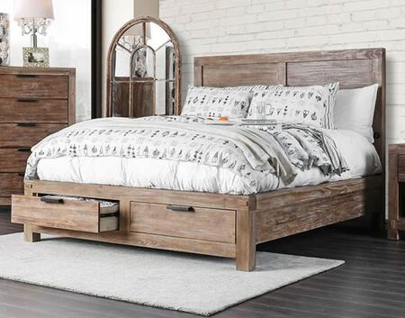 CM7360CK-BED Wynton Collection California King Size Bed with Storage Drawers  Wood Veneer  Simple Pull  Internal-USB Plug In and Block Feet  in Light