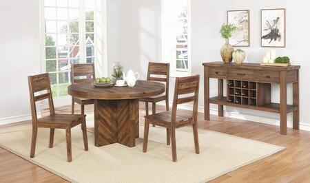 Tucson Collection 108170-S6 6-Piece Dining Room Set with Round Dining Table  4 Side Chairs and Server in