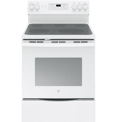 GE 5.3 Cu. Ft. Self-Cleaning Freestanding Electric Convection Range White-on-White JB700DJWW