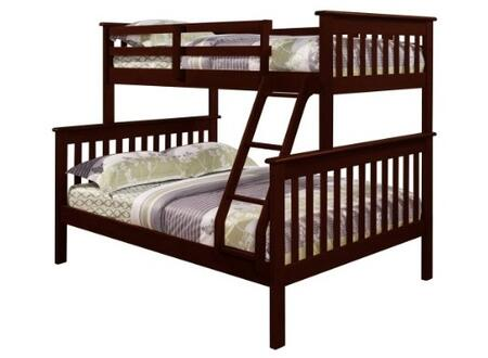 122-3E Mission Style Bunk Bed Twin Over Full with Built in Ladder  Slat Headboard and Footboard in