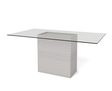 "Perry 1.6 Collection 105354 71"" Rectangular Table with Sleek Tempered Glass Table Top and Carved Design Base in"